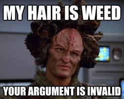 Your Argument Is Invalid Meme - my hair is weed your argument is invalid kazon quickmeme
