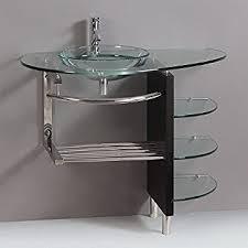 Glass Bathroom Vanity Contemporary Glass Vanity Combo Set With Shelfs Bathroom
