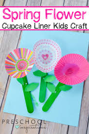 spring cupcake liner flowers craft preschool inspirations