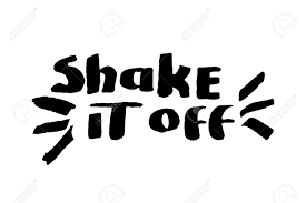 stencil lettering quotes shake it off isolated on a white