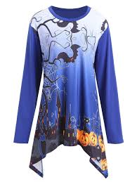 Plus Size Halloween Shirts by T Shirts Blue 5xl Halloween Pumpkin Castle Asymmetrical Plus