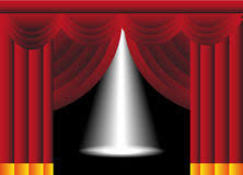 Stage With Curtains Spotlight On Red Stage Curtains Royalty Free Stock Photos Image
