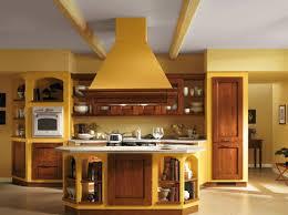 yellow italian kitchen design with wooden kitchen cabinet doors