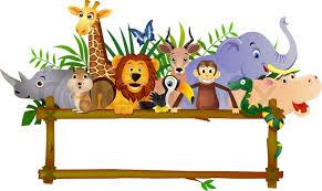 safari cartoon animal cartoon and blank sign stock vector colourbox