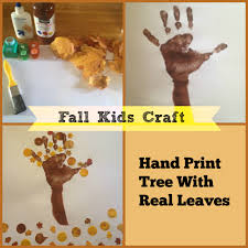 hand print tree with real leaves craft super mommy to the rescue