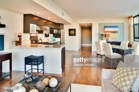 Open Floor Plan Kitchen And Living Room Kitchen And Dining Room Of Open Floor Plan Stock Photo Getty Images