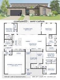 home plans modern courtyard23 semi custom home plan 61custom contemporary