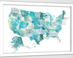 map usa states names bright rainbow color united states map us map canvas family