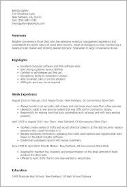 Unit Secretary Resume Professional Convenience Store Clerk Templates To Showcase Your