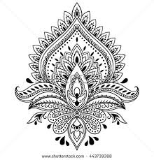 henna tattoo flower template indian style stock vector 443739388