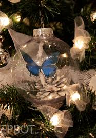 christmas ornament with paper butterfly u0026 pine cone i need to