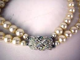 pearl necklace costume images A vintage costume double strand pearl necklace with faux diamond clasp jpg