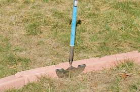 how to install lawn edging pavers to make mowing strips