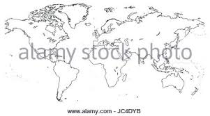 line vector outline map of north and south america on white stock