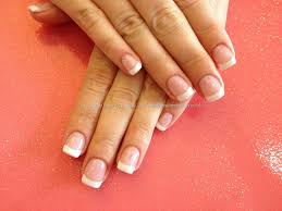 acrylic overlay with french gel polish hair makeup nails