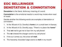 ppt eoc bellringer denotation u0026amp connotation powerpoint