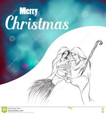 merry christmas with baby jesus mary and joseph drawing stock