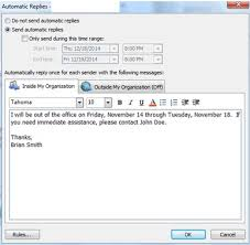 how to create an out of office reply in microsoft outlook