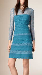 burberry tiered silk and lace shift dress in blue lyst