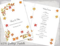 fall wedding programs fall wedding program printable template fall diy