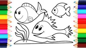 how to draw and colour fish videos coloring pages for kids youtube