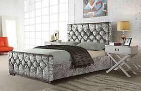 Crushed Velvet Fabric Upholstery Galaxy Crushed Velvet Fabric Upholstered Bed Frame 4 U00276ft Double