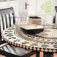 Round Elastic Tablecloth Mosaic Tile Elastic Fitted Vinyl Outdoor 48