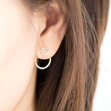 ear hoop tiny hoop ring front stud circle hoop ring ear jacket