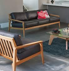 canape cuir et bois canapé contemporain en cuir en bois 3 places stanley by