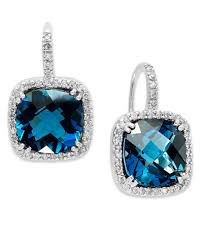topaz earrings 14k white gold earrings london blue topaz 10 ct t w and