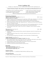 Testing Resume For 1 Year Experience Manufacturing Engineer Sample Resume Splixioo