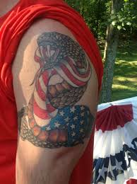 Flag Tattoos Rattle Snake Wrapped In American Flag Tattoo Filipino Tattoos