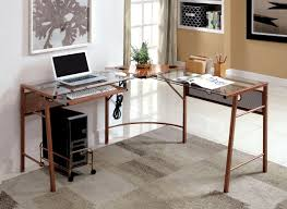 I Shaped Desk by Furniture Of America Sarea L Shaped Glass Top Rose Gold Office Desk