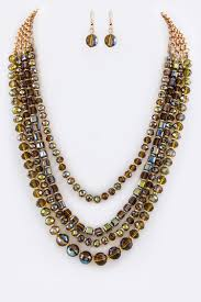 fashion necklace making images Womens layered crystal fashion necklace and earring set jpg