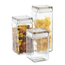 Clear Glass Kitchen Canisters Anchor Hocking Stackable Square Glass Canisters The Container Store