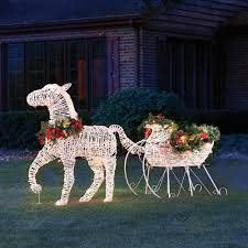Outdoor Sleigh Decoration The Lighted Holiday Horse Drawn Sleigh Hammacher Schlemmer Outdoor