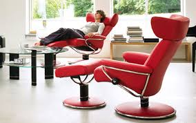 adorable ekornes stressless jazz recliner chair lounger in red