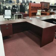 L Shaped Desk With Left Return L Shaped Desk W Left Return Mahogany Used Office Furniture In