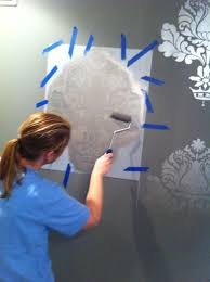 how to stencil a wall dining room project metallic paint