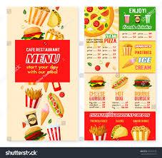 fast food restaurant menu template burger stock vector 726919732