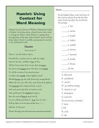 hamlet using context for word meaning context clues worksheets