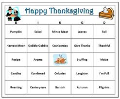 thanksgiving bingo 60 bingo cards with call words printable