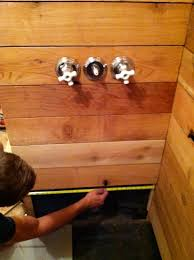 cedar wood wall wood walls in bathroom and grey stained plank wood decorating wall