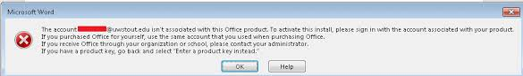 office desktop applications fail to activate