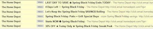 spring black friday home depot event fails email snarketing