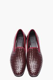 mcq burgundy leather basket woven razor blade slippers in red for