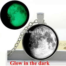glow in the necklaces glow in the moon 3 4 moon pendant moon necklace glass
