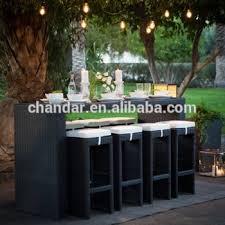 Patio Bar Table Aluminum Wicker Rattan Bar Table Set Outdoor Furniture Patio Bar