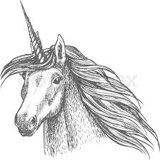 unicorn horse head sketch magic horse with twisted horn