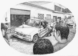 wrecked car drawing jorge satorre evidential piaxtla